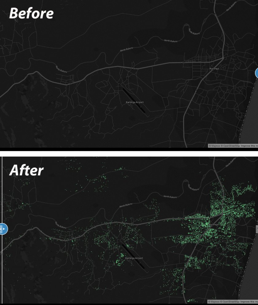 Karonga Open Street Map buildings before and after the mapathon