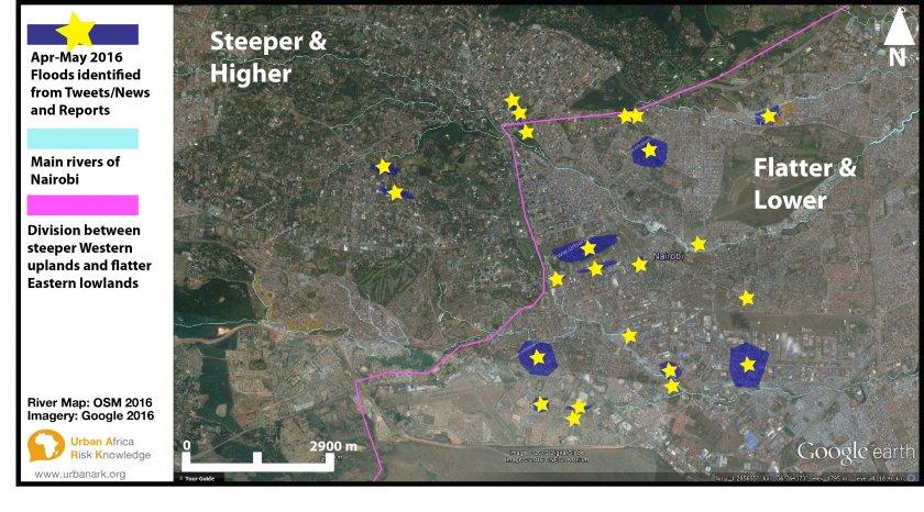Nairobi flood map april 2016